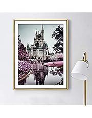 3D اللوحة الماس الأرجواني حديقة قلعة جدارية غرفة نوم غرفة المعيشة ملصقات الحائط ستيريو DIY الماس الأرجواني زهرة القلعة القديمة اللوحة تلفزيون خلفية الجدار ملصق
