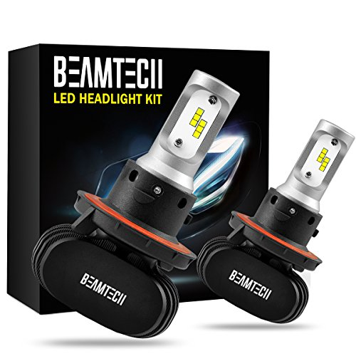 (BEAMTECH H13 LED Headlight Bulb, 50W 6500K 8000Lumens Extremely Brigh (9008 Hi/Lo) CSP Chips Conversion Kit)