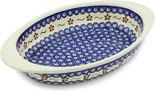 Polish Pottery 13-inch Oval Baker with Handles  + Certificat
