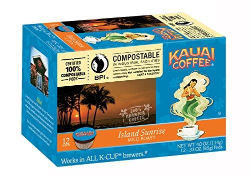Kauai Coffee Island Sunrise Mild Roast, Single Serve 12 Count (Breakfast Island Cup)
