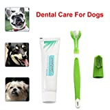 Jeeke Dog Toothbrush Set:Dog Toothbrush and Toothpaste with Dog Finger Brush For Pet Oral Health Care (Green)