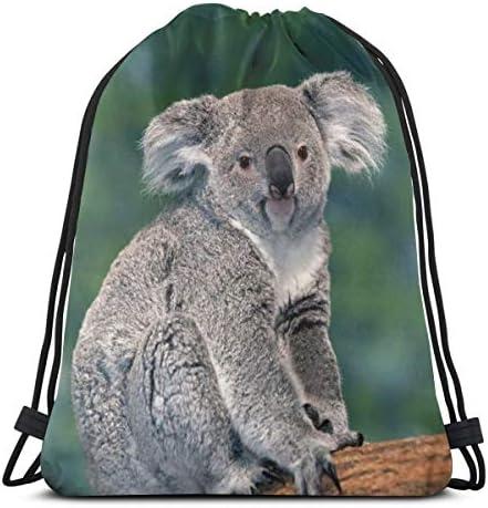 かわいいカンガルーとコアラドローストリングバックパックストリングバッグサックパックスポーツアスレチックジムサックメンズレディースキッズ36 x 43cm