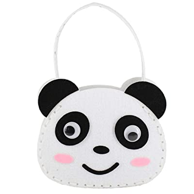 MEETCUER 2Pack or 5Pack Pretty Bag Kids DIY Non Woven Kit Sewing Craft-Childrens Felt Craft Kits-Felt Craft Sewing Handmade Gift for Child Meet Best 2Pack-Panda: Kitchen & Dining