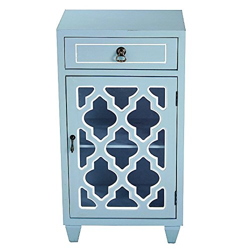 Heather Ann Creations Standing Single Drawer Distressed Storage Cabinet with Multi Clover Glass Window Inserts, 30'' x 18'', Aqua by Heather Ann Creations (Image #4)
