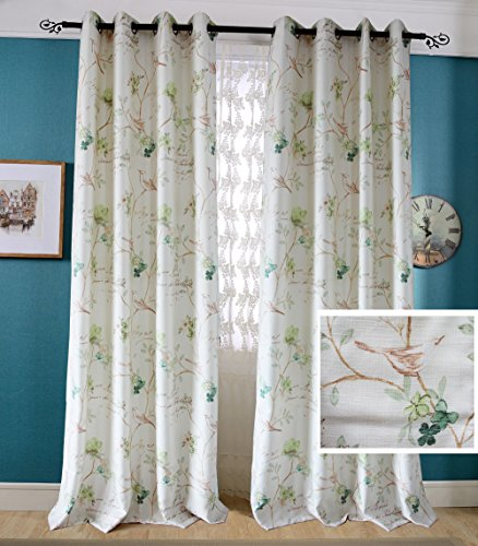 Green Flower Curtains Robin Bird Drapes – Anady 2 Panel Print Spring Scenery Curtains for Living Room Drapes 84 inch length For Sale