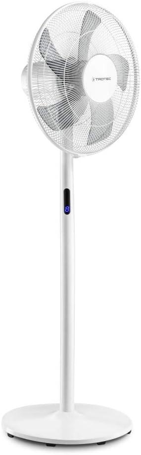 TROTEC Ventilador de Pie TVE 24 S/Ventilador de Mesa / 48 W/Blanco/Pantalla LED / 8 Velocidades de Ventilación/Mando a Distancia/Temporizador/Ajustable en Altura/Oscilación Automática de 80°