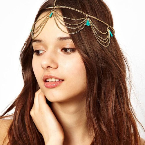 Coromose Women Head Turquoise Chain Headband Party Headpiece