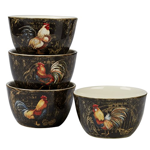 Certified International Gilded Rooster Set/4 Ice Cream Bowl  5.25