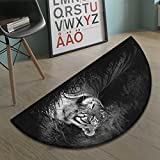 Black and White Half Round door mats for inside Bengal Tiger Lying in the Grass Africa Savannah Monochrome Image Print Bath Mat for tub Bathroom Mat Black White size:23.7''x15.8''