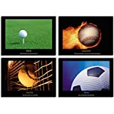 """Soccer Football Baseball Golf Sports Motivational Positive Quotes Inspirational Canvas Wall Art for Sports Lovers Home Decor Posters Pictures Paintings Gift Framed Ready to Hang (16""""x12""""x4pcs, 1)"""