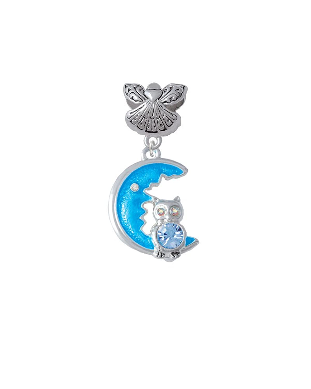 Large Crystal Owl Sitting on Moon - Guardian Angel Charm Bead