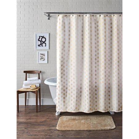 Metallic Ikat Dou Fabric Shower Curtain (Ikat Shower Curtain)