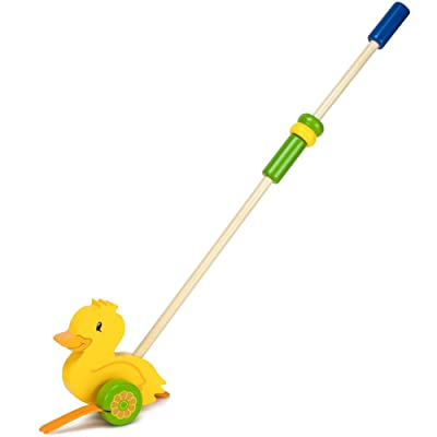 Imagination Generation Wooden Wonders Push-n-Pull Waddling Duckling with Rubber Feet: Toys & Games