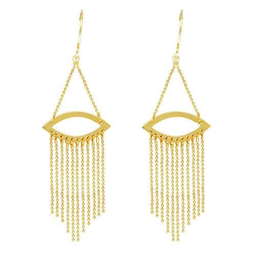 14kt Yellow Gold Marquise Shape Beaded Chain Fishhook Earrings ()