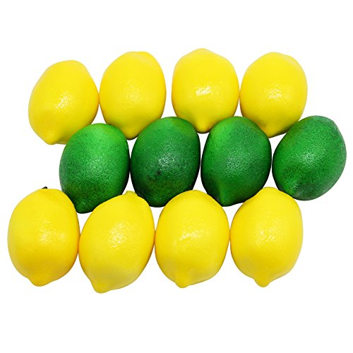 Barbariol Artificial Lemon 12 pack,Decorative Fruit Yellow & Green (12PCS) by Barbariol