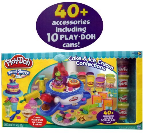 Play-Doh Sweet Shoppe Cake & Ice Cream Confections 40+ Accessoried + 10 Cans of Play Doh by Play-Doh