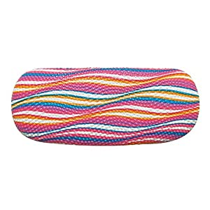 Hard Shell Eyeglass Case For Men & Women, Bumpy Glasses Case With Colorful Waves