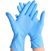 EiioX 100 Pcs Nitrile Disposable Gloves, Powder Free, Rubber Latex Free, Medical Exam Gloves, Non Sterile, Comfortable Industrial Rubber Gloves, Blue