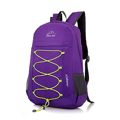 CLEVER BEES Backpack Foldable Ultra Lightweight Outdoor Water Resistant Hiking Backpack 25L for Travel Champing Hiking School Sports, Purple