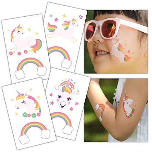 (Gooji Unicorn Temporary Tattoos (32-Pack) Party Favors and Supplies for Children's Birthday | Fake, Non-Toxic, Skin Safe | Bright, Colorful Designs for Kids, Adults | Easily)