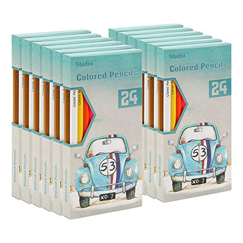 (Madisi Colored Pencils Bulk - Pre-Sharpened - 12 Packs of 24-Count - 288 Colored Pencils for Kids)