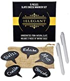 Cheese Markers Set - 5 Cheese Labels Made of Natural Slate & 2 Chalk Markers, Cheese Name Tags, Kitchen Tool. Fancy Gifts for Mom, Women, Hostess, Housewarming, Birthday