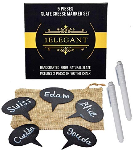 - Cheese Markers Set - 5 Cheese Labels Made of Natural Slate & 2 Chalk Markers, Cheese Name Tags, Kitchen Tool. Fancy Gifts for Mom, Women, Hostess, Housewarming, Birthday