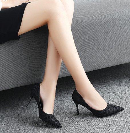 Ajunr Moda/elegante/Transpirable/Sandalias Tacones de 8 cm Bien el talón Negro La ocupación Trabajo Zapatos de mujer Sharp Superficial Solo zapatos ,34 38