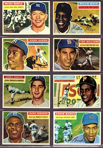 2020 Topps Basketball - 1956 Topps Baseball (8) Card Reprint Lot #3 (Mickey Mantle) (Willie Mays) (Ted Williams) (Jackie Robinson) (Roberto Clemente) (Hank Aaron) (Koufax) (Banks)