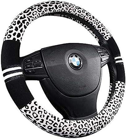 15 HCMAX 3 Pack Plush Vehicle Steering Wheel Cover Quality Comfy Winter Soft Car Steering Wheel Protector Universal Diameter 38cm Leopard Print