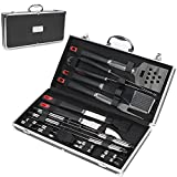 Image of Barbecue Tool Set, Bossjoy Deluxe 18-pieces Long Stainless Steel Barbecue BBQ Grill Tools Set Accessories with Storage Case …