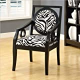 Monarch Specialties Fabric Solid Wood Accent Chair, Zebra