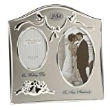 "Two Tone Silverplated Wedding Anniversary Gift Photo Frame - ""25th Silver Anniversary"""