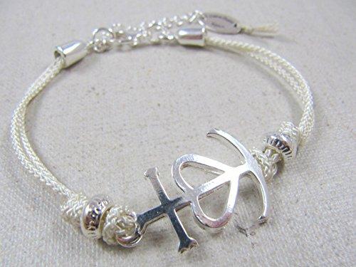 0b9c20e466a Bracelet cordon tréssé Croix de Camargue étain finition argent 925 avec  cordon au choix