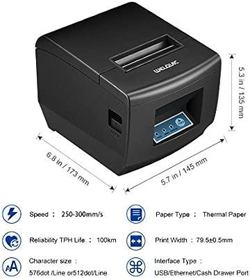 WELQUIC Impresora Térmica del Recibo, Auto-Cortó, Anchura de 80 mm/s de la Velocidad de 300 mm. para Android & iOS & Windows & Linux y ESC/POS, ...