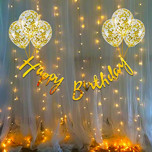 Party Propz Birthday Decoration Items Kit- 10Pcs Bday Banner Confetti Balloon with Led Light for Kids, Husband Girls Boys Bday Decorations Items with String Fairy Lights