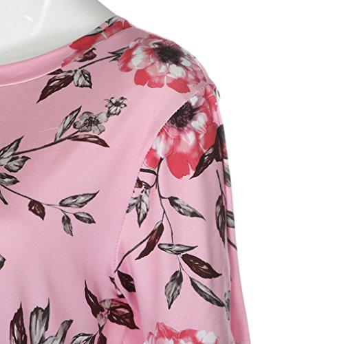 vovotrade Camisas de la mujer de la impresión floral del color de rosa de la señora del verano