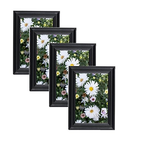 Classic Wooden Picture Frames 4x6 (4 pc) Display with Photo Glass Front, Easel Back, Hanging Clip | 4 PIECE SET (Black, 4x6) -