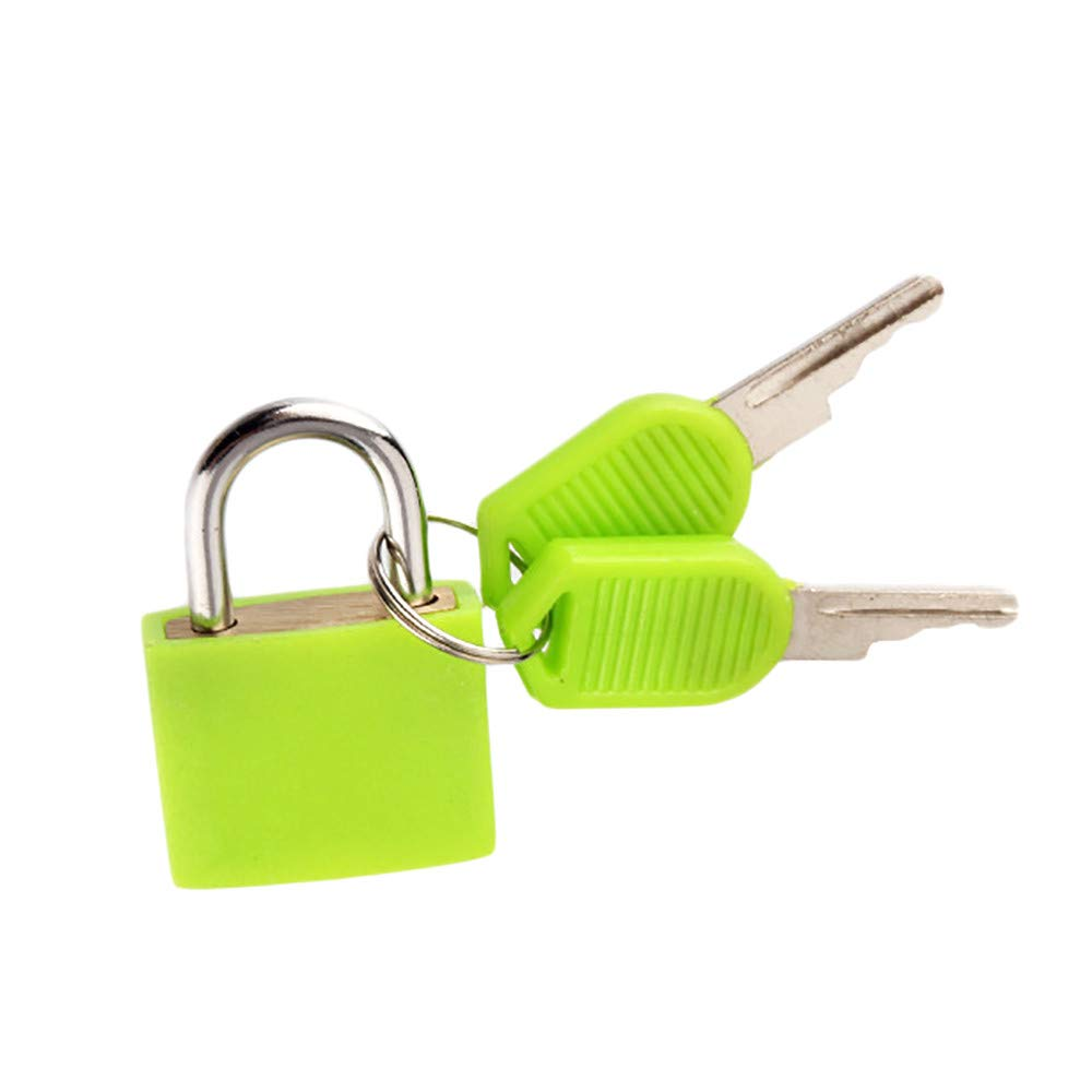 Connia Small Mini Strong Steel Padlock Travel Suitcase Diary Lock With 2 Keys for Travel (Green)
