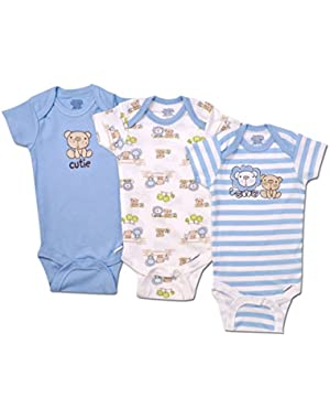 Gerber Baby Boys 3 Pack Bear Short Sleeve Onesies