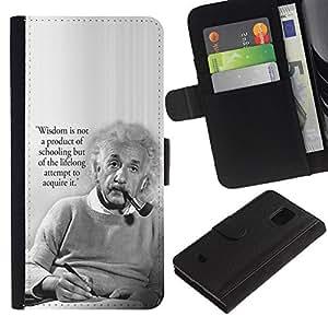 Billetera de Cuero Caso Titular de la tarjeta Carcasa Funda para Samsung Galaxy S5 Mini, SM-G800, NOT S5 REGULAR! / Einstein albert science quote smart man / STRONG
