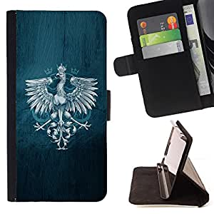 BullDog Case - FOR/HTC One M9 / - / Royal Eagle Crest /- Monedero de cuero de la PU Llevar cubierta de la caja con el ID Credit Card Slots Flip funda de cuer