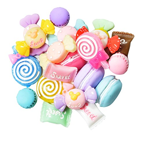 Baoblaze 20 Pieces 3D DIY Candy Cell Phone Case Resin Flat Back Kawaii Cabochons Decoration, Flatback Embellishment Buttons for DIY Craft Scrapbooking Ornament Handmade Hair Bows Clothes Decorations