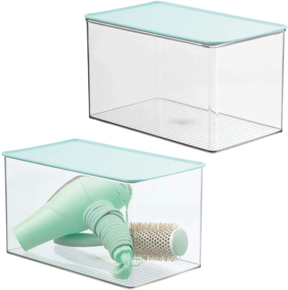 mDesign Stackable Bathroom Storage Box with Attached Hinged Lid - Container for Organizing Hand Soaps, Body Wash, Shampoos, Conditioners, Hand Towels, Accessories, Body Spray, 2 Pack - Clear/Mint