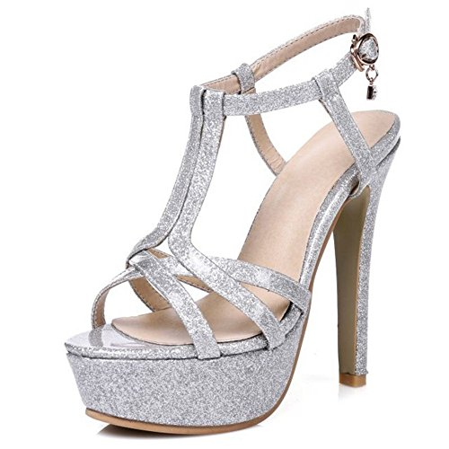 de Materail bodas tacón elegantes aguja con para SJJH gran Bling de tamaño plata Zapatos de sandalias de de mujer pRwqWt8