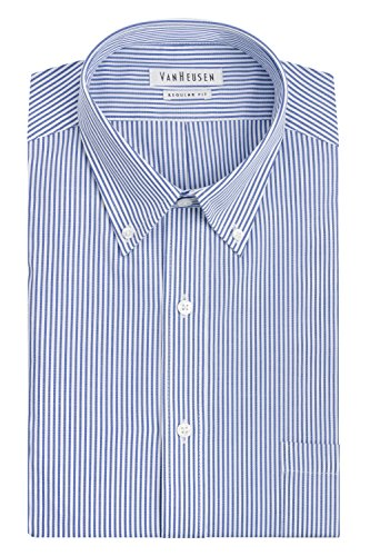 Van Heusen Men's Pinpoint Regular Fit Stripe Button Down Collar Dress Shirt, Blue, 17