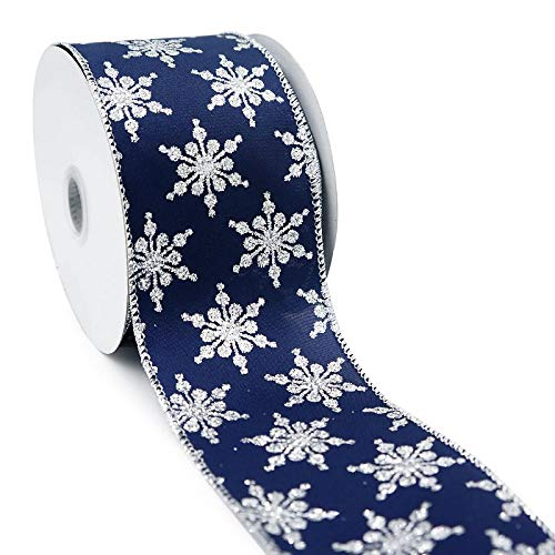 CT CRAFT LLC Navy Satin with Silver Snowflakes Wired Christmas Ribbon - 2.5 Inch x 10 Yards x 1Roll