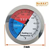 "Bar.b.q.s 2"" 550F BBQ Charcoal Grill Pit Wood Smoker Temp Gauge Grill Thermometer With 2"" Stem SS RWB"