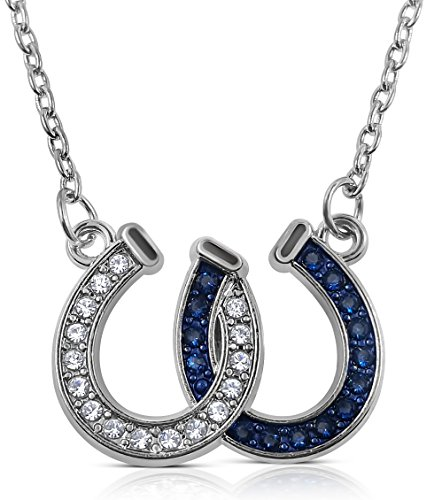 Western Jewelry Necklace Bracelet - Lucky Clear and Blue Crystals Double Horseshoes Silver Tone Necklace Fashion Jewelry