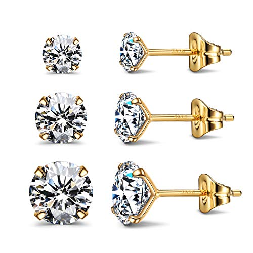 CZ Stud Earrings 925 Sterling Silver 18K Gold Plated Round Cubic Zirconia Hypoallergenic Set (G4-6) (Gold Crystal Earrings Studs)